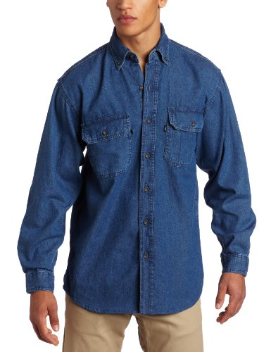 Key Industries Men's Premium Enzyme Washed Long Sleeve Denim Shirt Big, Medium/Tall