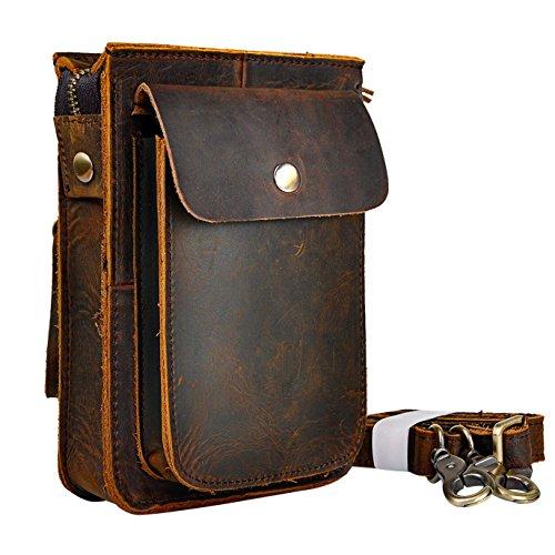 Le'aokuu Hombres Bolso pequeño Bolso al Aire Libre Bolso de Cadera Cinturón Bolso Cintura Paquete de Cintura de Fanny Paquete de Viaje Bolso Mensajero de Cuero de Vaca Bolso 021 (021 A marrón)