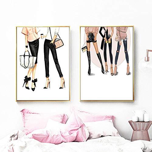 profesional ranking Supermodelo moda chicas arte de pared lienzo pintura escandinava Vogue cartel arte impresión pintura … elección
