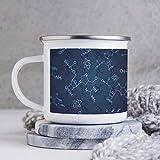 Tazza da caffè smaltata divertente da 283,5 ml, con smalto per esterni, motivo chimica scientifica astratta in lavagna, tazza da caffè, tazza da caffè, per San Valentino e compleanno