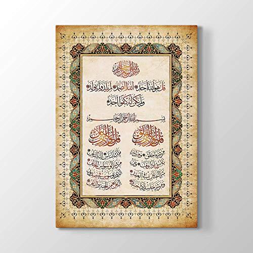 tabloshop Surah Al Ikhlas Al Falaq Al NAS, Muslimisches Geschenk, Islamisches Hauptwanddekor, Moderne Islamische Wandkunst, Einzigartiges Design Leinwandbild (40 x 60 cm, Rollen)