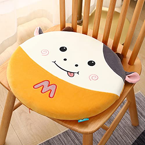 FJLOVE Cute Cow Memory Foam Round Chair Pad for Coccyx Sciatica and Tailbone Pain Relief Sofa Home Office Chair Car Seat Cushion