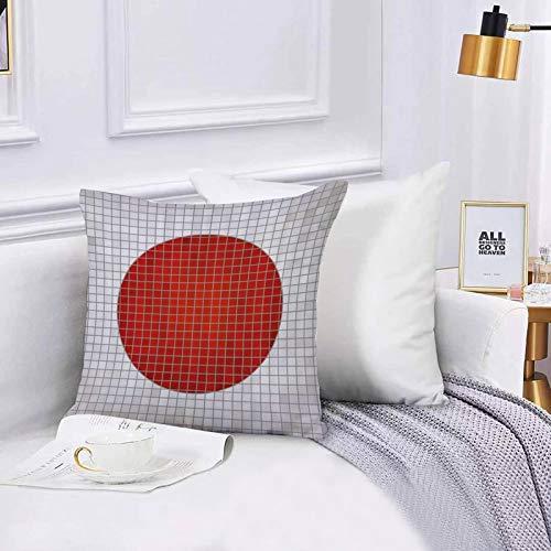 Funda de algodón 45 x 45 cm Resumen Mosaico Bandera Nacional de Japón Grunge Fractal Fondo Impresión gráfica Modern Sofá Throw Cojín Almohada Caso de la Cubierta para Sala de Estar 45x45cm