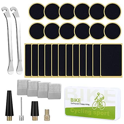 Kit de Herramientas para Bicicleta, 35Pcs Kits de reparación de neumáticos para bicicletas con Herramienta de escofina de palancas de Parche para neumáticos de Bicicleta