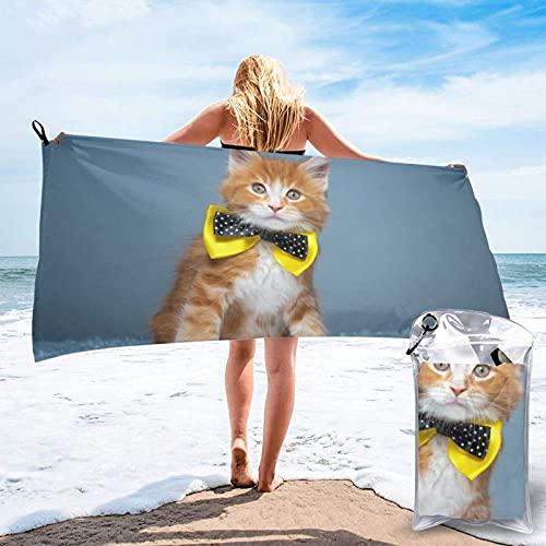 Paedto Toalla de playa, extra grande, 80 x 130 cm, suave, altamente absorbente, ideal para viajes diarios, camping, gimnasio, piscina, sillas de playa, carrito de playa, gato Teesobunny con pajarita,