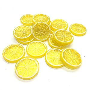 Ergonflow 20PCS Mini Small Simulation Lemon Slices Plastic Fake Artificial Fruit Model Party Kitchen Wedding Decoration(Yellow)