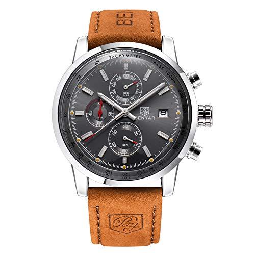 Gskj Heren horloge Quartz horloge mode waterdicht militaire Chronograaf Lederen band Outdoor sport Multifunctionele Klok horloge