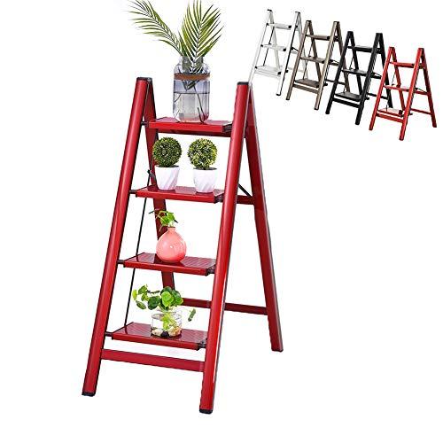 Estante de Almacenamiento, Estante para Libros con Escalera de 3/4 Niveles, Estante para Flores para Plantas de Interior, Escalera para el hogar, Oficina, Dormitorio, Sala de Estar,Rojo,Four Steps