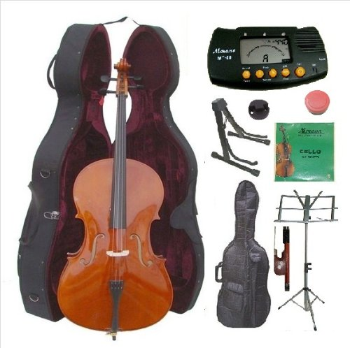 Merano 4/4 Full Size Cello with Case & Complete Beginners Starter Kit