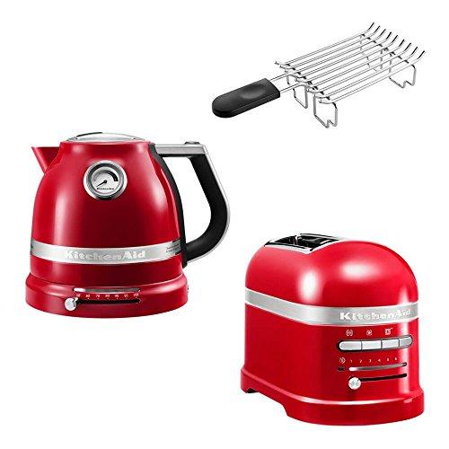 KitchenAid Artisan Frühstücks Set | incl. Wasserkocher 5KEK1522, 2 Scheiben Toaster 5KMT2204 und Brötchenaufsatz | für einen perfekten Start in den Tag! (Empire Rot)