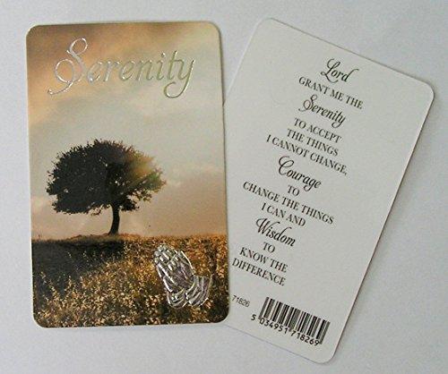 Serenidad–Tarjeta de oración laminado con plata con sello diseño de manos rezando
