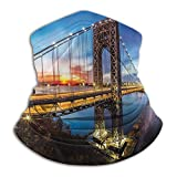 Neck Warmer Apartment Decor Collection Sun Protection Windproof, Fishing Running Cycling George Washington Bridge Connecting NJ to Manhattan NY Sunlights Clear Sky Image 10 x 12 Inch Blue Bright Gold