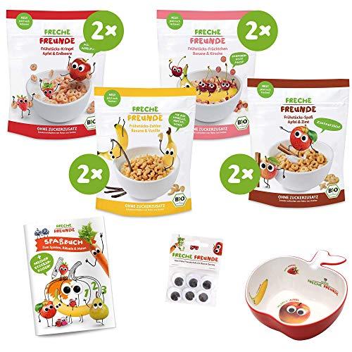 Freches Frühstücks-Familienpack, Bio Corn Flakes ohne Zuckerzusatz & ohne Zusatzstoffe für Kinder & Babys ab 1 Jahr PLUS freche Müslischale