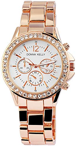 Donna Kelly Damen Armbanduhr 42mm Chrono Look Gliederarmband Uhr Chronolook Gold