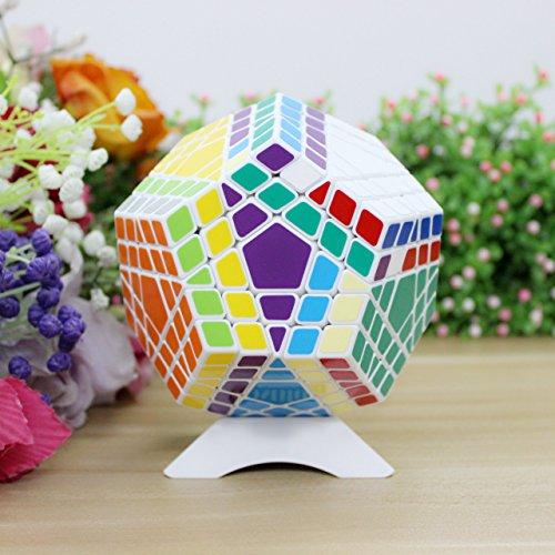 FunnyGoo Shengshou 5x5 12 Superficie Gigaminx megaminx Cubo Mágico + soporte de pantalla de un cubo (Blanco)