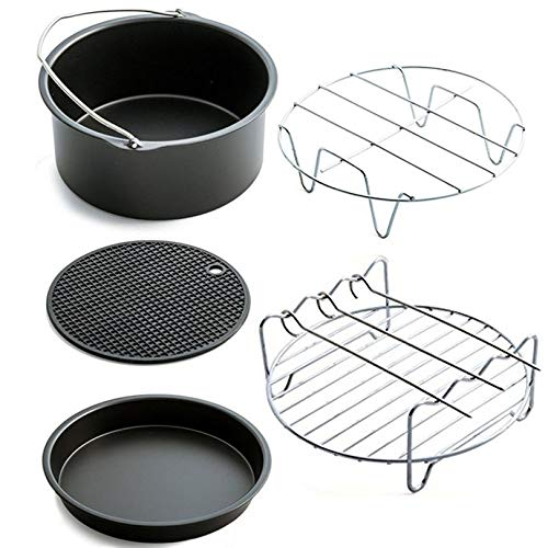 Appearancees Home Air Frying Pan Accessories Five Piece Fryer Baking Basket Pizza Plate Grill Pot Mat Multi-Functional Kitchen Accessory