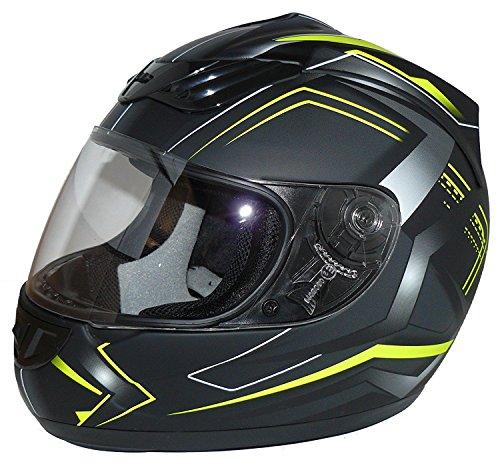protectWEAR Motorradhelm H510 Arrow Schwarz Matt/Neon - Gelb, Größe XS