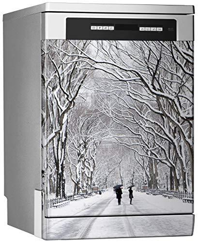 Megadecor decoratieve vinylstickers voor vaatwasser, afmetingen standaard 67 cm x 76 cm, Winter in New York