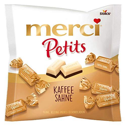 merci Petits Kaffee Sahne (1 x 125g) / Feine Pralinen aus edler weißer und Kaffee-Sahne Schokolade