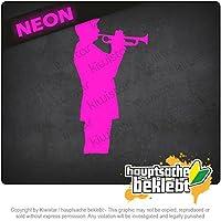 トランペット・プレーヤー - ジャズ Trumpet player - jazz 18,5cm x 10cm 15色 - ネオン+クロム! ステッカービニールオートバイ