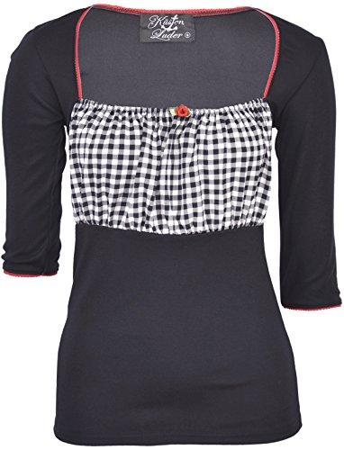 Küstenluder Damen Oberteil Felisa Vichy Pepita Shirt Schwarz XL