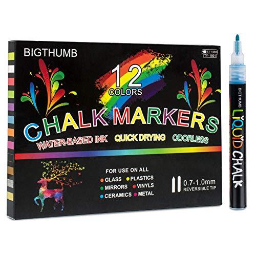 Kreidestifte, flüßig,12 Farben, 1.0 MM Spitze, Ideal als Kreidestift, Folienstift, Glasmalstifte, Tafelstift, feucht abwischbar, für Kinder und Erwachsene, kostenlose 20 * 20 cm Acrylrahmen