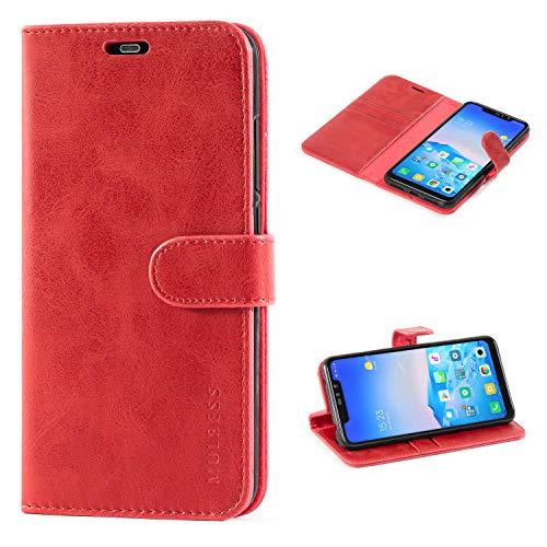 Mulbess Cover per Xiaomi Redmi Note 6 PRO, Custodia Pelle con Magnetica per Xiaomi Redmi Note 6 PRO [Vinatge Case], Vino Rosso