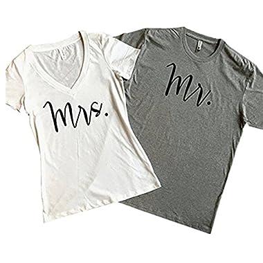 Coutgo MR and MRS Shirt Set Couples Shirts (Couple Outfit) (L, MR-Grey-Man)