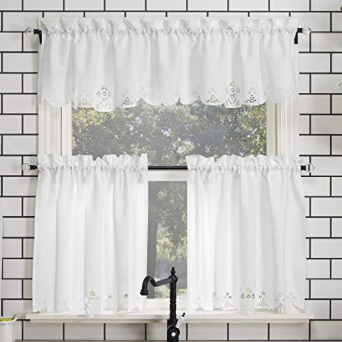 "No. 918 Mariela Floral Trim Semi-Sheer Rod Pocket Kitchen Curtain Valance and Tiers Set, 58"" x 24"" 3-Piece, White"