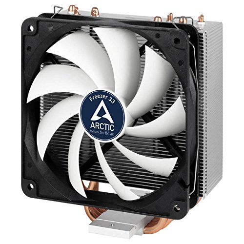 Arctic Freezer 33 - Enfriador de CPU semi pasivo con ventilador PWM 120 mm para Intel 115X/2011-3 y AMD AM4, color negro y gris