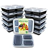 Enther Meal Prep Containers [12 Pack] 3 Compartment with Lids, Food Storage Bento Box | BPA Free | Stackable | Reusable Lunch Boxes, Microwave/Dishwasher/Freezer Safe,Portion Control (36 oz)