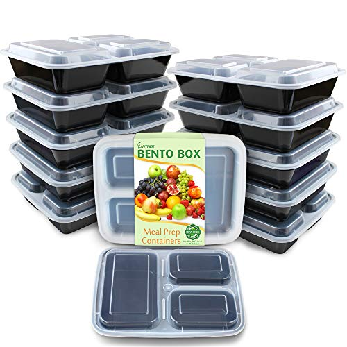 Enther Meal Prep Containers [12 Pack] 3 Compartment with Lids, Food Storage Bento Box   BPA Free   Stackable   Reusable Lunch Boxes, Microwave/Dishwasher/Freezer Safe,Portion Control (36 oz)