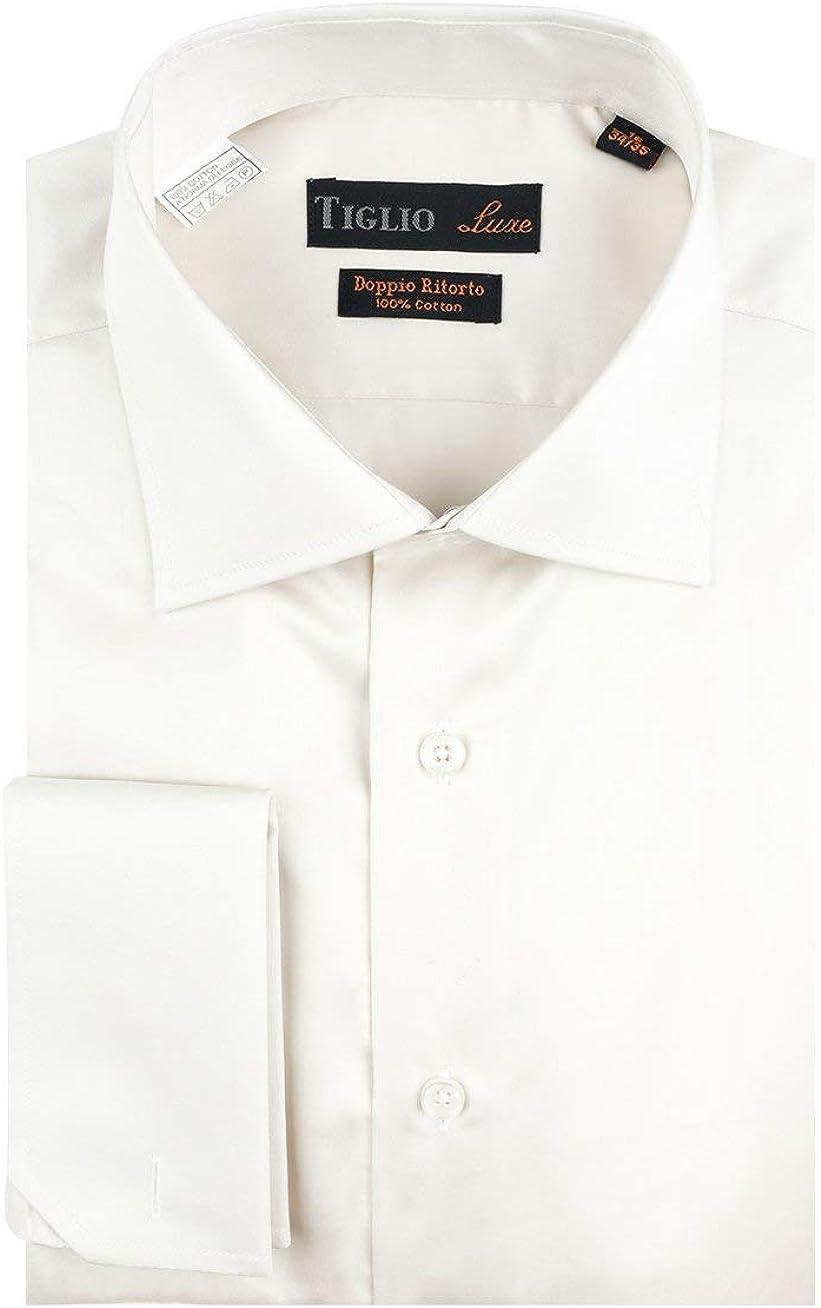 Tiglio Off White Dress Shirt, French Cuff