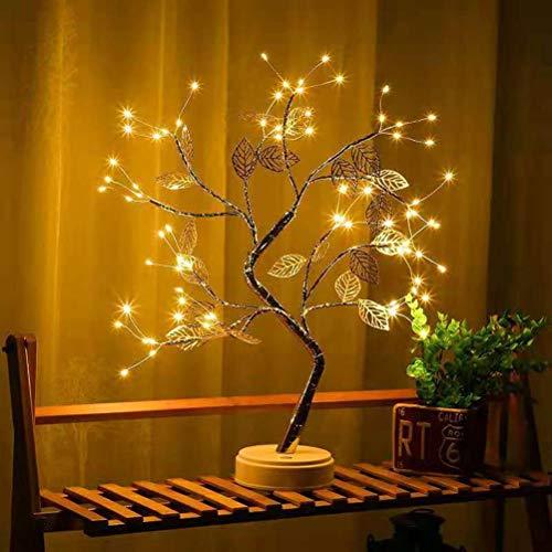 BSTiltion 36 LED Baum Lampe Bonsai Baum Licht, Lichterbaum Baumlampen Zweiglichter mit Blättern Nachtlicht Lichter Dekoration Weihnachtsbaum Schlafzimmer Wohnzimmer Fensterbank Deko, USB & Batterie