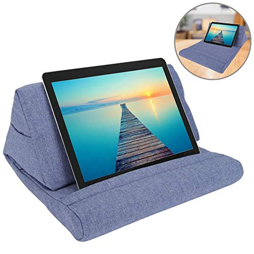 ZGWJ Pillow Stand Tablet Pillow Holder Soft Pillow Lap Stand for Tablet, eReaders, Mobile Phone, Magazines, Books (Blue)