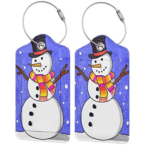 BCLYPBO Etiquetas de equipaje de cuero de muñeco de nieve vestido de invierno, etiquetas de equipaje, etiquetas de maleta de cuero PU con lazo de acero inoxidable 2 piezas conjunto