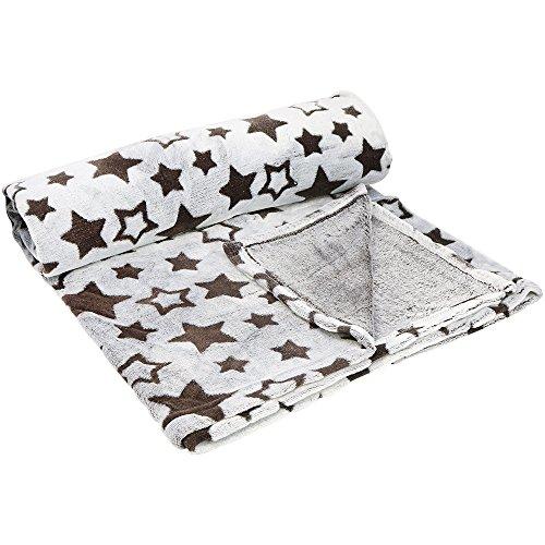 COM-FOUR® gezellige deken gemaakt van flanel met sterren in bruine, donzige levende deken, sprei of als zachte deken voor de bank 150 x 200 cm (01 stuk - bruin)