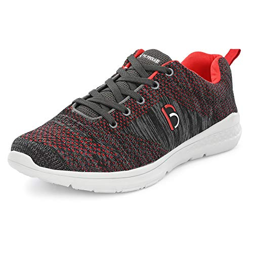 Bourge Men's Loire-6 Grey and Red Running Shoes-8 UK/India (42 EU) (Loire-6-Grey-08)