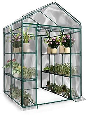 Home-Complete Walk-in Greenhouse-Indoor Outdoor with 8 Shelves, Green