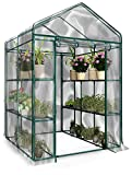 Home-Complete 514537Fxw Walk-In Greenhouse-Indoor Outdoor With 8 Sturdy Shelves-Grow Plants, Seedlings, Herbs, Or Flowers In Any Season-Gardening Rack, Green