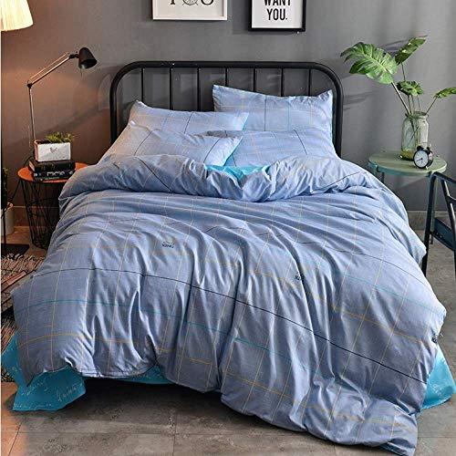 QWEASDZX Nordic Cotton Four-Piece Bedding Sheets Quilt Cover Bedding Set Hidden Zipper Opening And Closing Easy To Clean 2.2m