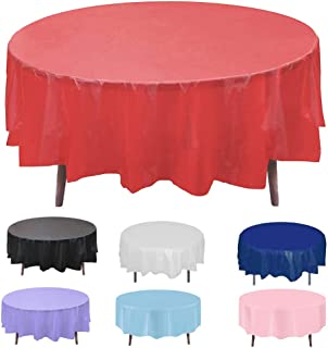 Round Plastic Disposable Tablecloth Table Cloth Cover Protector for Wedding Birthday Party Easter Holiday Banquet Event Su...