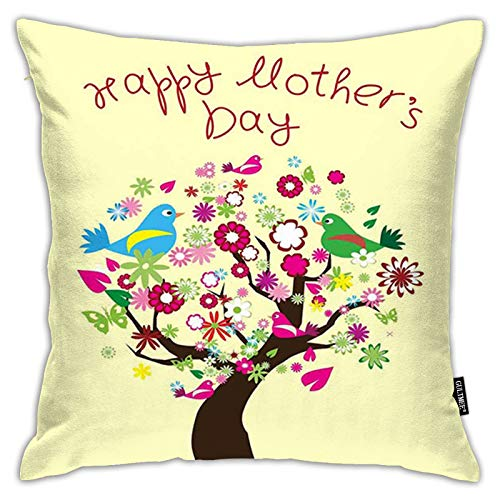 FULIYA Pillowcases,Spring Tree in Full Blossom with Birds on Branches Happy Celebration,Decorative Square Accent Throw Pillow Cushion Cover,18'x 18'