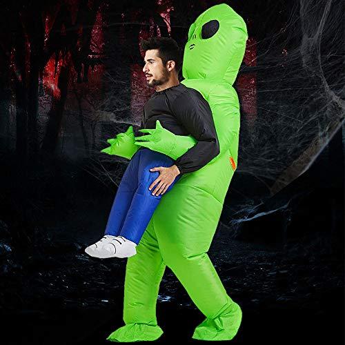 JTWEB Halloween Kostüm Alien,Aufblasbares Alien-Kostüm,Lustiger Aufblasanzug,Cosplay-Kostümfür Erwachsene Kostümparty Kleid für Herren Damen Halloween Grün