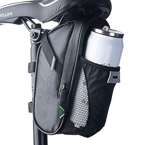 HYSENM Satteltasche Fahrrad Wasserdicht Kratzfest Fahrradtasche mit Flaschenhalter Rennrad Mountainbike Zubehör, Schwarz