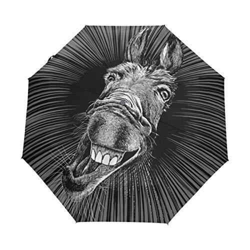 Jeansame Abstract Grappige Gek Ezel Dier Kunst Vouwen Compacte Paraplu Automatische Regen Paraplu's voor Vrouwen Mannen Kid Jongen Meisje