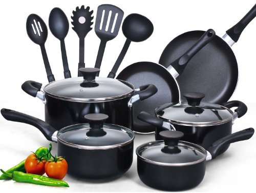 Premium Professional Quality Cook N Home 15 Piece Non stick Black Soft handle Cookware Set