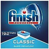 Finish Classic Spülmaschinentabs, phosphatfrei – Geschirrspültabs mit Powerball für die Basis-Reinigung des Geschirrs – Für 3 Monate – Gigapack mit 192 Finish Tabs -