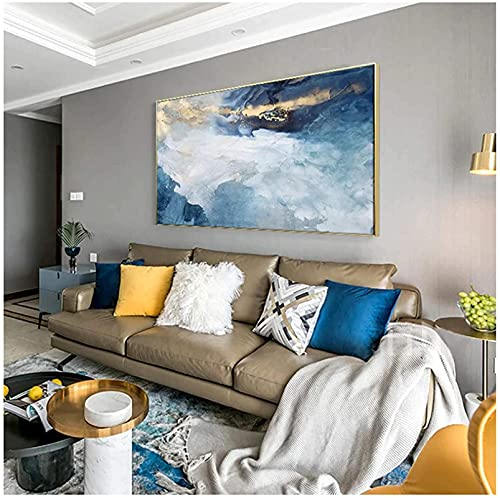 SXXRZA 60x100cm Sin Marco Moderno Abstracto Lámina Dorada Río Azul Pinturas artísticas para Sala de Estar Dormitorio Carteles Cartel de Pared Decoración para el hogar