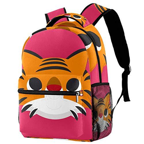 Zaino Scuola Testa di tigre del fumetto Ragazze di Moda Zaino Scuola Daypack Viaggio Grande Capacità Backpack 29.4x20x40cm